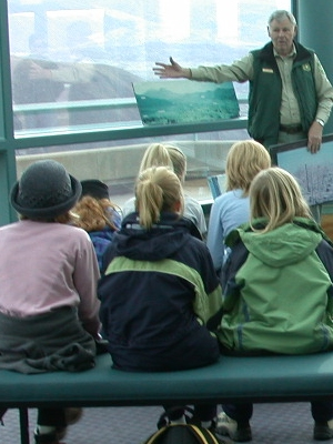 Students listening to a Ranger at Coldwater Ridge Visitor Center